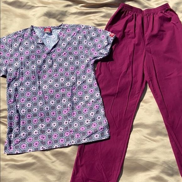 Cherokee Workwear & Dickies Scrubs Top &Bottom Set